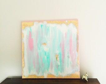 "Abstract #3 - ""Sunrise Gulf"" - Art - Midcentury Modern - Gold - Pink - Resin"