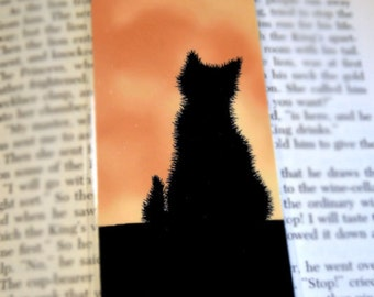 Black Cat at Harvest Moon Laminated Bookmark - Sammy Faces the Moon Illustration