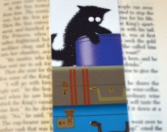 Black Cat on Luggage Laminated Bookmark - Sammy Seeks Adventure