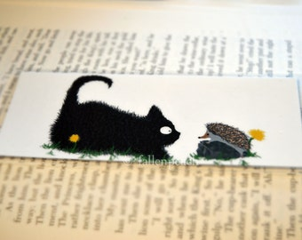 Black Cat & Hedgehog Laminated Bookmark - Sammy Meets Sebastian