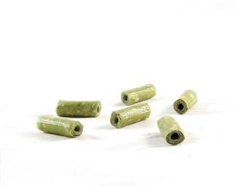 Handmade Fabric Beads Big Hole Textile Fiber Bugle Beads Big Large Hole in Floral Print Green Gold White Handmade Beads Flowers Beads