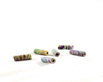 Fiber Beads Textile Beads Fabric Beads Big Hole Beads Large Hole in Batik Print Abstract Print Green Purple Gold Tan Handmade Beads