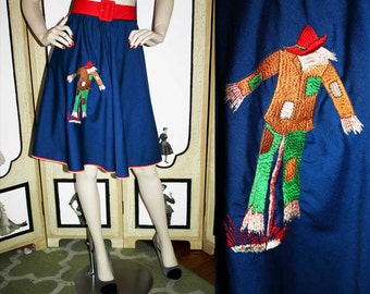 Vintage Scarecrow Embroidered Autumn Swing Skirt. Medium to Large.