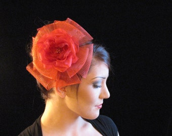 Red Hat Special, Red fascinator, Red hat on a comb, Red lady's hat, Custom made red fascinator, Red hat with red rose, Red Crin fasscinator