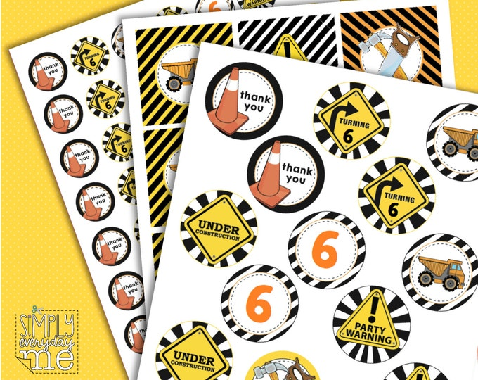 Construction Circle Tags - Editable, Birthday Party, Baby Shower, Big Truck Party - Instant Download DIY Printable PDF kit