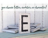Rustic wooden letter tiles - cottage white with black letters - shabby chic