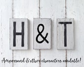 THREE or more letter tiles - cottage style - painted white with black letters - distressed