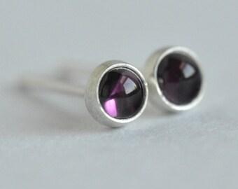 rhodolite garnet 3mm sterling silver stud earrings pair