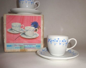Vintage Sheffield 4 Piece Demitasse Coffee China Set - 2 Cups & 2 Saucers Rhapsody Pattern