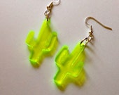 Neon Green Cactus Earrings in Lasercut Acrylic Plastic - Small Size Dangle Earrings