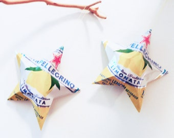 San Pellegrino Limonata, Lemon, Decorative Upcycled Stars,Ornaments, Aluminum Can