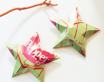 Dr. Pepper  with Real Sugar Stars Christmas Ornaments Soda Can Upcycled Repurposed Green Red