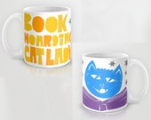 Mug, Coffee Mug, Funny Mug, Book Hoarding Cat lady, Crazy Cat Lady, Ceramic Mug, Cat Lover Gift, Gift from Cat, Book Lover, Gift for Wife
