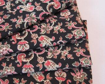 Black Paisley Napkins Black Napkins Set Black and Tan Napkins Black and Pink Napkins Set of 4 or 6  Black and Burgundy Napkins