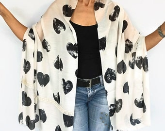 Light Summer Scarf, Beige, Black Heart Patterned, Soft Touch Shawl, Chunky Stole Neck Warmer, Handmade
