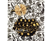 Baby Girl SET- Black and Gold polka dot ruffle butt bloomer and baby girl Gold headband, diaper cover, Birthday Girl, photo prop