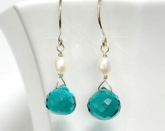 Teal Earrings, Teal Drop Earrings, Teal Briolette Earrings, Pearl and Teal Quartz Earrings