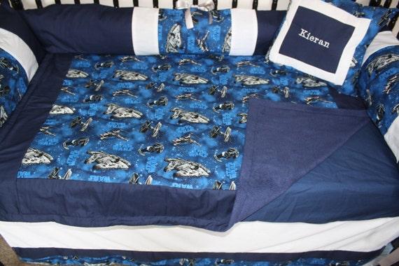 5 Piece Navy Blue Star Wars Crib Set by Bedbugscreations