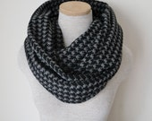 READY TO SHIP - Black and Grey Houndstooth Infinity Scarf