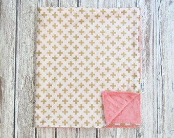 Cream, Coral and Metallic Gold Baby Blanket, Minky Baby Blanket, Swiss Cross, Plus Baby Blanket