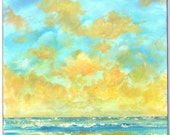 Colorful beach painting, cloud painting, fluffy clouds. Ocean sunset 12x12 orange turquoise cloudscape painting