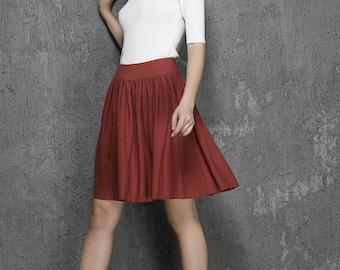 red skirt, linen skirt, mini skirt, cute skirt, pleated skirt, skater skirt, summer skirt, casual skirt, gift for women (1334)