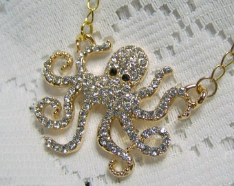Octopus Necklace, Rhinestone Octopus Necklace, Crystal Nautical Necklace, Under the Sea, Gold Rhinestone Glamour Octopus, Crystal Kraken