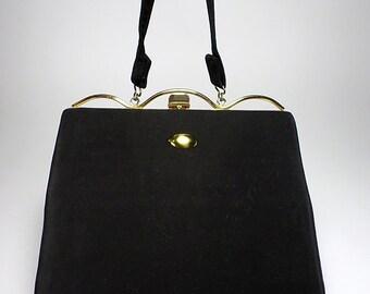 1950's Imperial Black Slim Handbag, Women's Ladies Fashion, Mid Century Fashion, Props