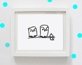 Twiggy Owls, Digital Print