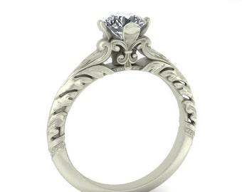 14K White Gold Custom Vintage Style Moissanite Engagement Ring.  Fleur de Lis Detail