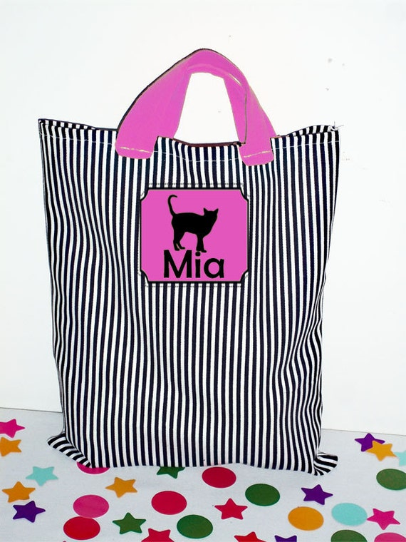 Personalized Halloween Bags - Monogrammed- Halloween Bag - Trick or Treat Bag - Girl Halloween Bag, Boy Halloween, Black and White Stripe