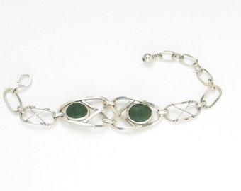 Sea Glass Jewelry - Sterling Green Sea Glass Bracelet