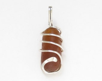 Sea Glass Jewelry - Sterling Caged Large Brown Sea Glass Pendant