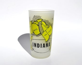 Vintage Indiana souvenir 1950s glass, Hazel Atlas frosted glass tumbler excellent condition, Indiana map