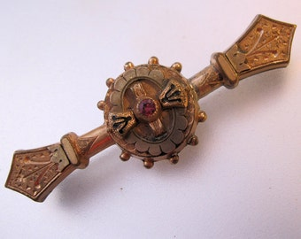 Antique Etruscan Revival Ruby Bar Pin Gold Filled Victorian 1870s Jewelry Jewellery FREE SHIPPING