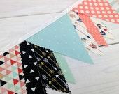 Bunting Banner, Gender Neutral Nursery Decor, Birthday Decoration - Peach, Mint Green, Gold, Black, Aztec Nursery,Tribal Nursery, Arrow