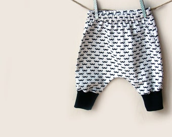 Baby harem pants, in black moustaches. Baby/toddler clothes, size 0-3 Months