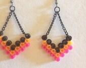 Chervron Dangle in Pink, Orange & Black