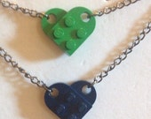 Navy & Green Lego Heart Reversible Necklace, Gunmetal Chain