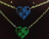 Blue & Green Lego Heart Reversible Necklace, Green Chain