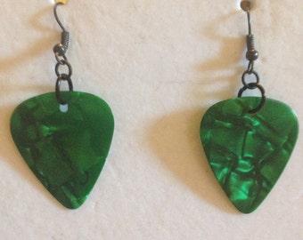 Green Pick Earrings
