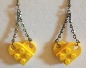 Yellow Lego Earrings, Antique Gold Chain