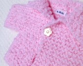 Baby Girl Clothes Baby sweater Newborn girl's handknit sweater and matching hat in soft pastel pink Ready to ship
