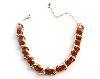 Red Patent Leather And Chain Choker Necklace
