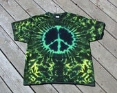Peace Symbol Tye Dye Tee - Adult (Extra Large) Dark Rasta Greens, Yellow & Black