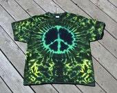Peace Symbol Tye Dye Tee - Adult (Extra Large) Dark Rasta Greens, Yellow & Black