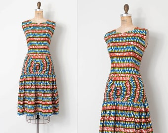 vintage 1960s dress / 60s african cotton print dress / Gbate