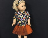 Doll Halloween Outfit for American Girl Dolls or Most Other 18 Inch Dolls, Halloween Trick or Treat Candy Shirt with Tutu and Leggings