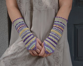 Gipsy Princess - crocheted open work romantic multicolored fingerloop wrist warmers mittens cuffs rustic boho hippie style