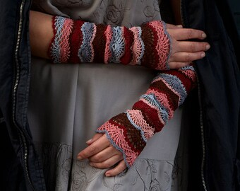Gypsy Sunset - crocheted open work lacy romantic multicolored wrist warmers mittens cuffs hippie boho style